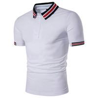 raya blanca de polo al por mayor-Camiseta de manga corta con diseño de verano Camiseta de manga corta con manga corta y transpirable Polo blanco negro