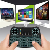 Wholesale keyboard panel - 2.4G wireless 18 y mouse keyboard touch panel mouse super thin set-top box player keyboard New Fly Air MouseWith Backlight Red Green