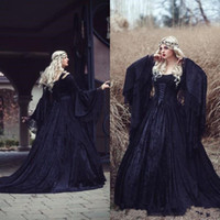 Wholesale corset gown flower skirt for sale - Vintage Gothic Wedding Dresses High Quality Black Full Lace Long Sleeved Medieval corset Bridal Gowns Lace up Back with Train