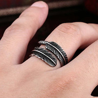 Wholesale Thai Silver Jewelry Wholesale - Free Shipping Vintage open adjustable Feather Arrow Opening Rings for Women Thai Silver plated Jewelry