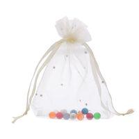 Wholesale organza beige bags - 2*25PCs 9.7cm x12cm Light Beige Organza Gift Bags Wedding Christmas Favor