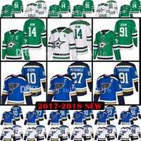 Wholesale Dallas Hockey Jerseys - 2018 27 Alex Pietrangelo 10 Brayden Schenn 91 Vladimir Tarasenko Jersey 14 Jamie Benn 91 Tyler Seguin St. Louis Blues Dallas Stars Jerseys