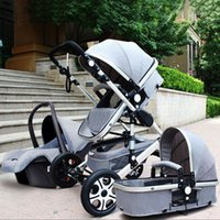 Wholesale luxury prams - Luxury Baby Stroller 3 in 1 High Landscape Pram foldable pushchair & Car Seat Mainstream color Black Gray 0 to 3 years old