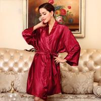 kimono robe satin wholesale Canada - Women Satin Kimono Robe Sexy Kimono  Bathrobe Gown Sleepwear Female 69af02bad