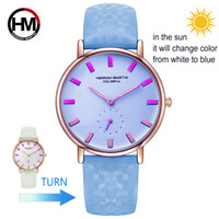 Wholesale ladies rose pink belts for sale - Group buy UV Sensitive Watch Under Sunlight BS32 Rose Gold Discoloration Belt Student Trend Cool Lady Color Change Watch