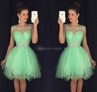Wholesale crystal mints - Mint Green Mini Short Homecoming Dresses Crystal Beaded Sweet 16 Graduation Dresses Little Chiffon Short Cocktail Dress Prom Party Dresses