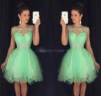 nane yeşil şifon kısa elbise toptan satış-Nane Yeşil Mini Kısa Mezuniyet Elbiseleri Kristal Boncuklu Tatlı 16 Mezuniyet Elbiseleri Küçük Şifon Kısa Kokteyl Elbise Balo Parti Elbiseler