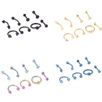 Wholesale anodized steel jewelry resale online - Mixed G Titanium Anodized Stainless Steel Body Jewelry Helix Piercing Ear Eyebrow Nose Lip Captive Rings Freeshipping