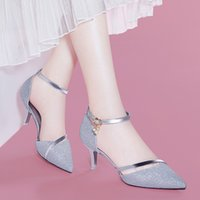 Wholesale heeled shoes one strap - free shipping Centenary Pointed Shallow Sandals One-Piece Buckle Women's Shoes Wine Glasses & Women's Shoes