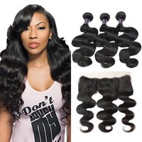 Wholesale indian virgin front closure for sale - Group buy Brazilian Body Wave Virgin Hair Bundles with x4 Lace Frontal Bundles Wet and Wavy Body Wave Lace Front Weaves Closure Unprocessed Hair Pc