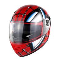 cascos moto xxl al por mayor-Racing Iron-Man Helmets Full Face Casco de moto Spider Men Doble lente Casco Moto Casque Nenki 830