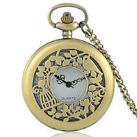 relógios ocos para mulheres venda por atacado-Novas publicações Bronze Lovebirds oco quartzo relógio de bolso Homens Mulheres Vintage Clássico pingente de colar de presente