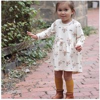 Wholesale baby glasses clothes resale online - Girl Fox with Glass Print Long Sleeve Dress Baby Spring and Autumn Round Neck Dresses Skirts Kids Cartoon Clothes ZHT