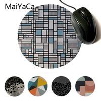 almohadillas de enfriamiento para computadoras al por mayor-MaiYaCa Vintage Cool Map Lines Sky Blue Modern Mouse Pads Juego de Computadora Caucho Redondo Mouse Pad