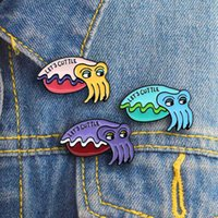 модная одежда оптовых-3 color cartoon cuttlefish squid sea animal fashion brooch suitable for aquarium children's pet shop as clothes backpack jewelry