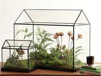 ingrosso piccolo giardino paesaggistico-Mini case verdi di vetro da tavola fatte a mano fresche, piccolo terrario di giardino miniatura del giardino di paesaggio di caso della serra ad arco di Wardian