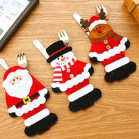 Wholesale 3PCS Christmas Ornament New year Christmas Decoration for home table Decor Cutlery pocket Fork Knife Tableware pouch BP092