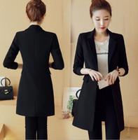 chaqueta coreana para mujer al por mayor-2018 Moda coreana Primavera Otoño Womens Blazers negros delgados Escudo de la oficina Chaqueta larga de la chaqueta para mujeres Breasted Trench