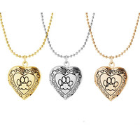 ingrosso carina foto di amore-Photo Frame Memory Locket Pendant Necklace Argento / Oro Colore Romantic Love Heart Cute Paw Prints Gioielli Regalo delle donne