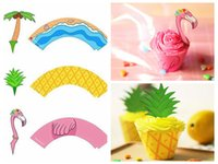 Wholesale Decorative Paper Sets - 48 Pcs Set Flamingo Pineapple Palm Cupcake Toppers Wrappers Hawaiian Wedding Birthday Party Supplies Cake Dessert DIY Decorations DDA452