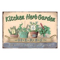 Wholesale home shopping kitchen for sale - KITCHEN HERB GARDEN add delicious flavours to vintage tin sign home Bar Pub Hotel Restaurant Coffee Shop home Decorative Retro Metal Poster
