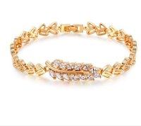 ingrosso stili di catena in oro bianco-Zircone placcato in oro rosa placcato in stile piega, catena di maglia a colori con diamanti, gioielli non ellergici per catena di braccialetti