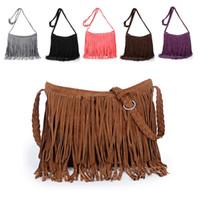 sacs de corps à franges achat en gros de-Femmes Tassel Fringe Shoulder Messenger Sac à main en daim Sac bandoulière Sac à main Bourse k