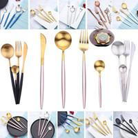 tenedores de cuchillos occidentales al por mayor-4 unids / set Juego de Cubiertos Cuchara Tenedor Cuchillo Té Cuchara de mesa de Acero Inoxidable Juegos de vajilla de Lujo Conjunto Cultery Occidental HH7-1490