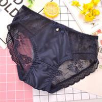 Wholesale japanese lace lingerie - High quality underwear women sik silk cotton panties transparent satin sexy women underwear thong tanga japanese lingerie panty