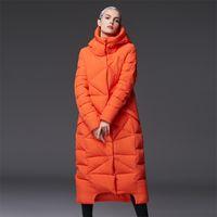 abrigos extra largos de invierno al por mayor-extra largo pato abajo abrigo con capucha suelta tallas grandes elegante nueva chaqueta de invierno mujer mujer chaquetas y abrigos 2016 parka diseñador