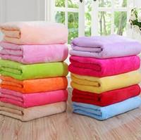 Wholesale Children Bedspreads - 50*70cm Warm Flannel Fleece Blankets Soft Solid Blankets Solid Bedspread Plush Winter Summer Throw Blanket for Bed Sofa CCA8428 50pcs