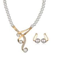 musikalische perlen groihandel-MissCyCy Luxus Gold Farbe Musical Notes Brautschmuck Set Strass Halskette Simulierte Perle Ohrringe für Frau