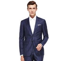 синий костюм оптовых-Men's Wardrobe Essentials Slim Fit Windowpane Suit Tailor Made Navy Blue Windowpane Check Suits For Men,Elegant Business Suit