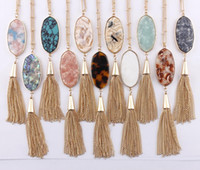 Wholesale abalone pendant necklace for sale - Group buy 2018 Christmas Gifts Colors Option Leopard Resin Tortoise Natural Turquoise Abalone Oval Shaped with Tassel Pendant Long Necklace