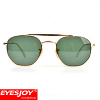 Wholesale Glass Bridges - Fashion Brand Designer Sunglasses New Hexagon Double Bridge Metal Frames G15 Lens Sunglasses for Men Luxury Women Glasses with Box