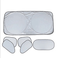 Wholesale parking cover - Six Piece Set Car Auto Windshield Parking Sunshade Cover Sunscreen Anti Snow Silver Coated Cloth Sunshades Heat Insulation Covers 11gr X
