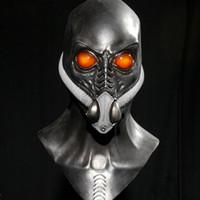 schwarze latexhaubenmaske großhandel-schwarz Alien mit Sauerstoffmaske Aliens Kostüm Maske cos Halloween Kreative hrror maske Latex Requisiten Party Supplies
