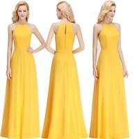 basit sarı şifon nedime elbiseleri toptan satış-2018 Basit Sarı Halter Gelinlik Modelleri Kat Uzunluk Şifon Plaj Düğün Konuk Elbise Brautjungfer Kleider Gerçek Görüntü BM0038