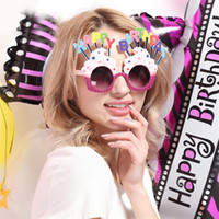 Wholesale birthday party sunglasses - Happy Birthday Theme Design Funny Glasses Creative Cream Cake Shape Sunglasses For Party Dancing Ball Decoration Mask Hot Sale 12sf Z