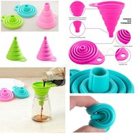 Wholesale eco styling gel - Mini Silicone Foldable Funnel Silicone Gel Collapsible Style Funnel Hopper Water Filler Tool Kitchen Accessories Gadget GGA561 100PCS