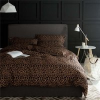 Wholesale comforter sets leopard print - High quality wild sexy Leopard print 100% Egyptian cotton brown 4pcs Queen King size comforter cover bedsheet bedding set B7020