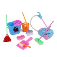 Wholesale wholesale brooms mops - 9pcs Set Home Cleaning Mop Broom Tool Floor Broom Kitchen Cutting Toys Early Development Education Toy For Girl Children