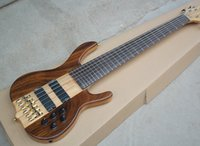 Wholesale custom electric bass guitars - Factory Custom Brown 6 strings Electric Bass Guitar with Gold Hardware,Active Circuit,Rosewood Fretboard,Can be Changed