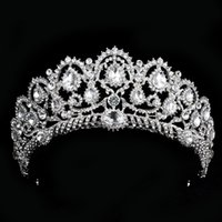 Wholesale luxury headdress jewelry resale online - Luxury Bridal Tiara big crystal Queen Crown Wedding Hair Accessories diadem headband Pageant Hair Ornaments Headdress