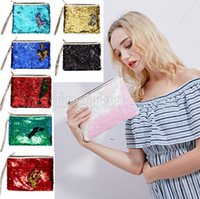 Wholesale day party makeup for sale - Mermaid Sequins Clutch Bag Mermaid Makeup Bag Colors Handbag Bling Glitter Evening Party Bag Shiny Cosmetic Bags Outdoor Bags OOA5218