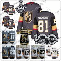 Wholesale 24 cups - Vegas Golden Knights #81 Jonathan Marchessault 24 Oscar Lindberg 3 Brayden McNabb 17 Born 58 Strong 2018 Stanley Cup Inaugural Hockey Jersey
