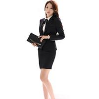 женщины с плюс блейзеры оптовых-Wholesale-Office Uniform Designs Women Skirt Suit 2017 Costumes for Womens Business Suits Skirts with Blazer Black Gray Plus size 4XL 5XL