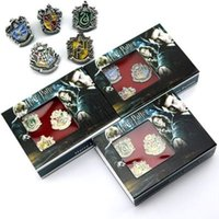Wholesale 3 Colos Harry Potter Hogwarts Magic School Metal Badge Pin Brooch Chest Button Ornament Cosplay Collection Gift Kids Toy