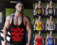 ingrosso maglia posteriore muscolare-7 Stili Uomo Muscle Dog Gym Bodybuilding Y-back Training Stringer Cotton Canotta Vest Training Gym Abbigliamento BBA225