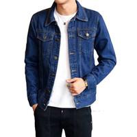 chaqueta de jean de moto hombre al por mayor-2018 nueva moda slim fit chaqueta de mezclilla chaqueta de la motocicleta de un solo pecho para hombre pantalones vaqueros abrigos cuello doblado prendas de vestir exteriores hombre